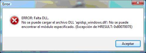 No se puede cargar el archivo DLL apidsp_windows.dll