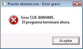 Error CLR 80004005