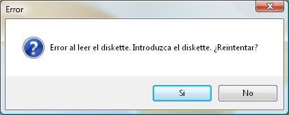 Error al leer el diskette. Introduzca el diskette