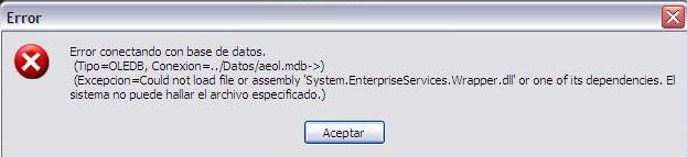 Error conectando con base de datos System.EnterpriseServices.Wrapper.dll