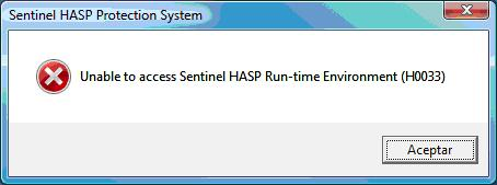Unable to access Sentinel HASP Run-time Environment H0033