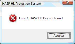 Error 7 HASP HL key not found
