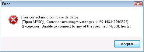 Error conectando con base de datos MYSQL