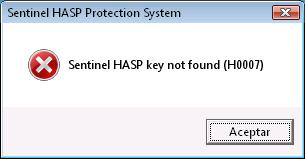 Sentinel HASP key not found (H0007)